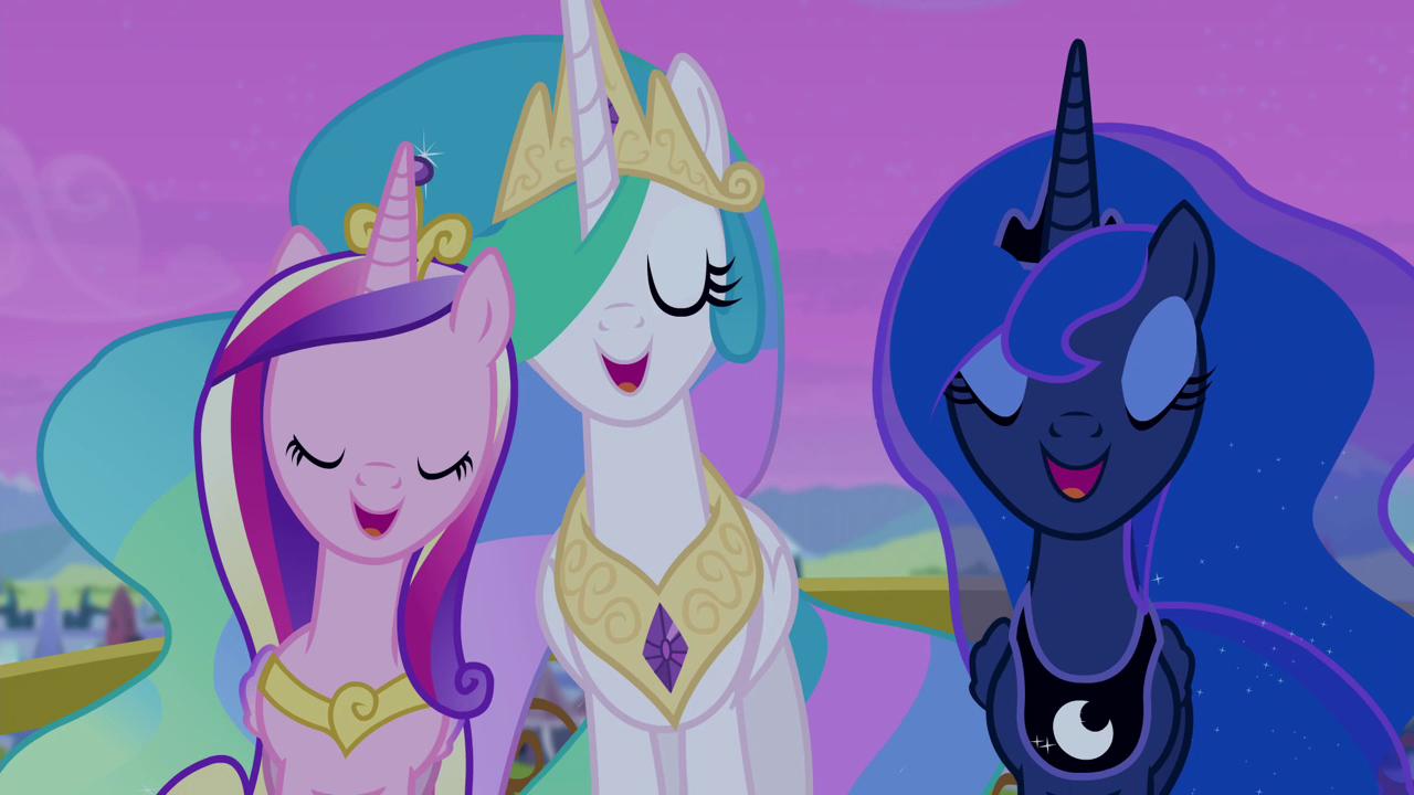 Cadance, Celestia, and Luna cantar