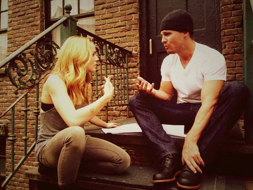 Caity Lotz and Stephen Amell