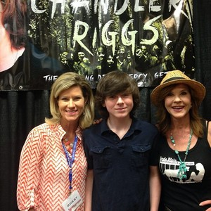 Chandler and his mom with Linda Blair yesterday at Frightmare in Texas