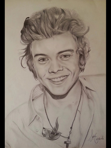 fanpop's got talent 바탕화면 possibly with a portrait called Copied Harry Styles Drawing