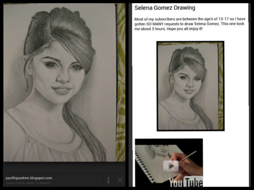 fanpop's got talent wallpaper possibly containing a portrait entitled Copied Selena Gomez Drawing