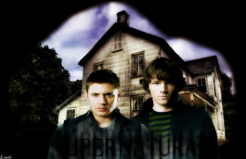 Supernatural wallpaper probably containing a street, a hip roof, and a lychgate titled Dean