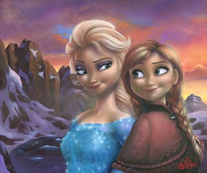 Disney Fine Art - Sisters of Arendelle sa pamamagitan ng James C. Mulligan