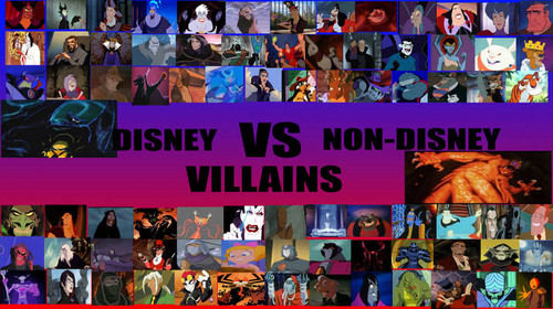 Childhood Animated Movie Villains wolpeyper possibly containing anime called Disney Villains vs. Non- Disney Villains