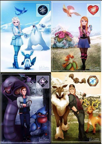 Princesses Disney fond d'écran probably with animé entitled Elsa,Anna, Hans and Kristoff's Pokemon Elements
