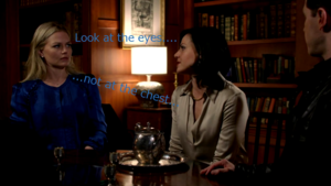 Regina's unbuttoned baju