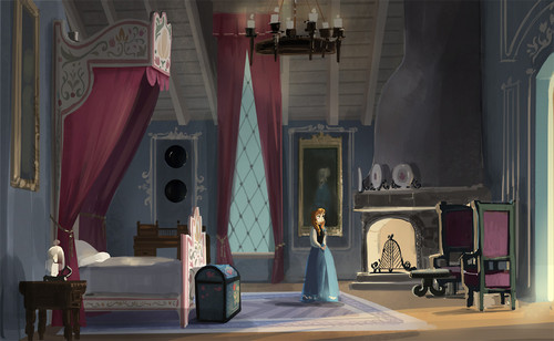 elsa e ana wallpaper possibly with a trono and a drawing room titled Frozen - Uma Aventura Congelante - Early Concept for Anna's Bedroom