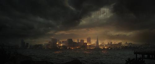 Godzilla wallpaper with a business district titled Godzilla (2014) - HD foto