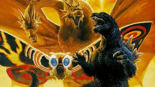 Godzilla wallpaper possibly containing a triceratops and a fleur de lis entitled Godzilla, Mothra and King Ghidorah Wallpaper