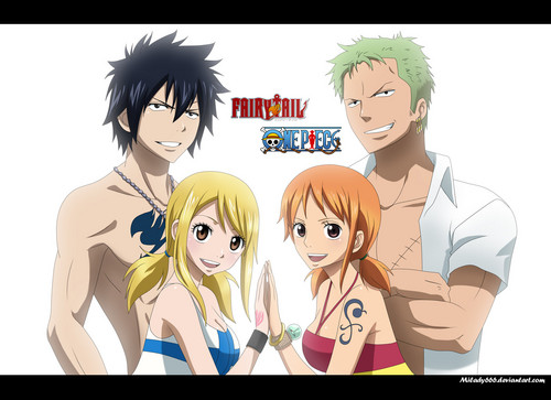 Fairy Tail wallpaper probably containing anime entitled Gray and Lucy with Zoro and Nami