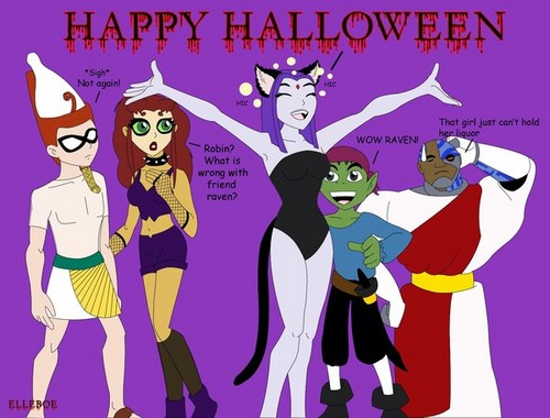 Teen Titans wallpaper containing anime entitled Happy Halloween from Teen Titans