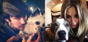 Ian Somerhalder and Kaley Cuoco with lovely pets