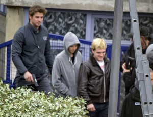 Josh Hutcherson on the set of Mockingjay