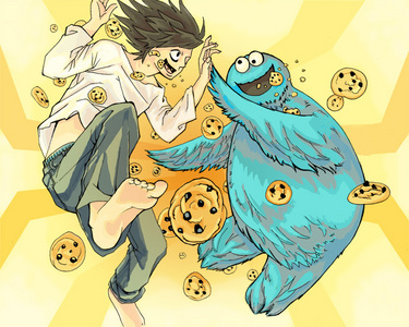 L wallpaper containing anime titled L and the Cookie Monster