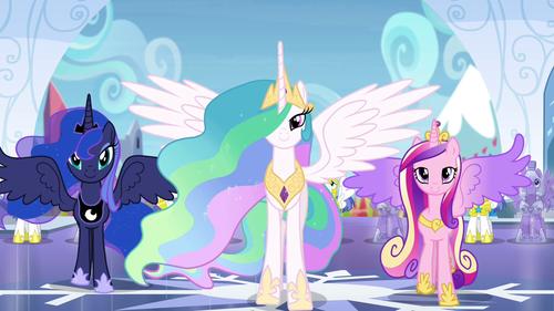 Princess Cadence fondo de pantalla possibly with anime entitled Luna, Celestia, and Cadance