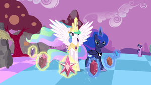 Luna and Celestia with the Elements of Harmony