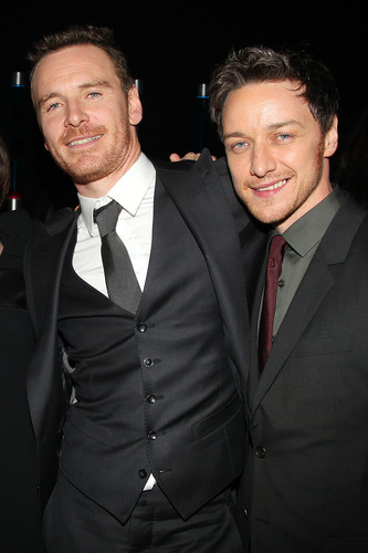 James McAvoy and Michael Fassbender hình nền with a business suit, a suit, and a double breasted suit entitled McFassy at the After Party