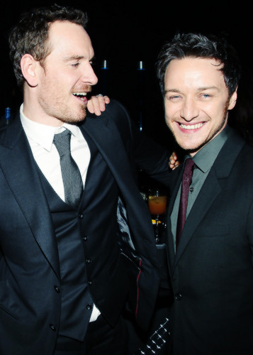 James McAvoy and Michael Fassbender wallpaper containing a business suit entitled McFassy at the After Party
