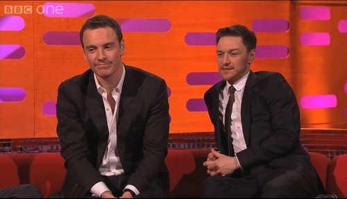 James McAvoy and Michael Fassbender वॉलपेपर containing a business suit, a well dressed person, and a suit called Michael & James on Graham Norton