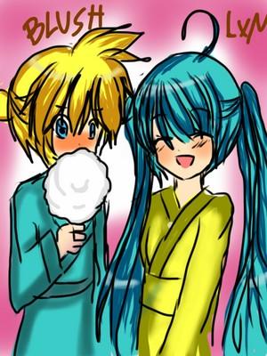 Miku and Len in Kimonos