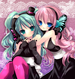 Vocaloids wallpaper possibly with a bouquet called Miku and Luka