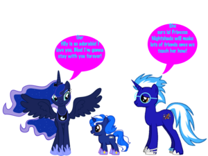 My OC Blazin' Blue and Princess Luna with their filly Princess morelle noire, morelle