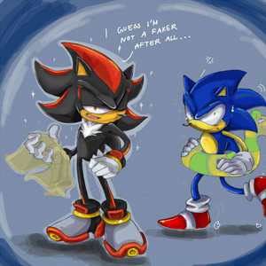 Proof that Shadow can swim better than Sonic. .3.