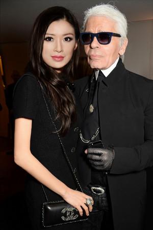 Rebecca Wang and Karl Lagerfeld