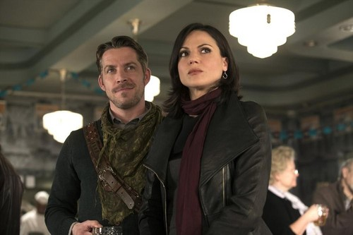 Robin cappuccio and Regina wallpaper possibly containing a business suit and a well dressed person titled Robin and Regina - Promo Pic