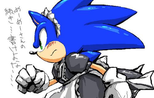 刺猬索尼克 壁纸 probably with 日本动漫 entitled Sonic The... Maid?!