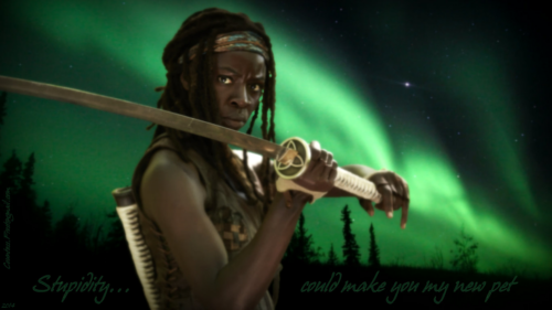 Michonne fond d'écran possibly with a concert called Stupidity... (1366x768 wallpaper)
