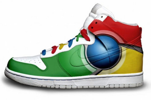 Google Chrome wallpaper containing a running shoe entitled Sure Chrome Boots