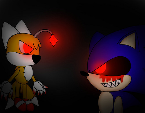 sonic exe and sonic drawing