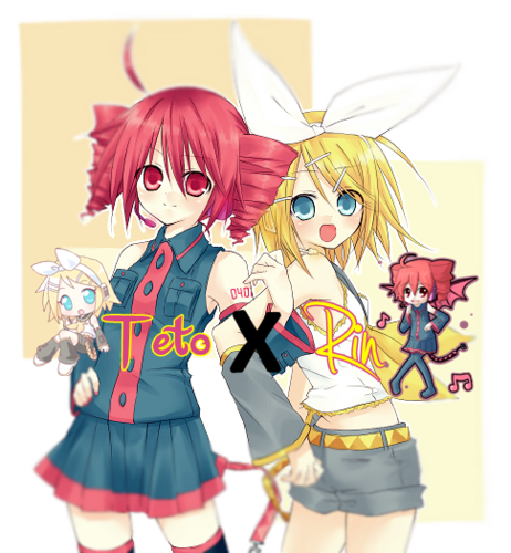 Vocaloids wallpaper probably containing anime titled Teto and Rin