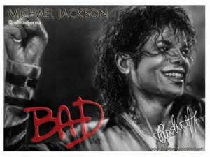 The Bad Era achtergrond probably with a portrait titled The Legendary Michael Jackson
