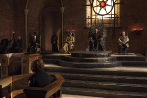 Tyrion Lannister, Oberyn Martell, Tywin Lannister and Mace Tyrell