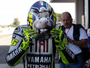 Vale and the donkey casque (Misano 2009)