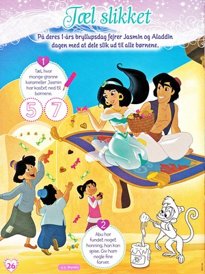 Walt Disney Images - Princess Jasmine, Prince Aladdin, Carpet & Abu