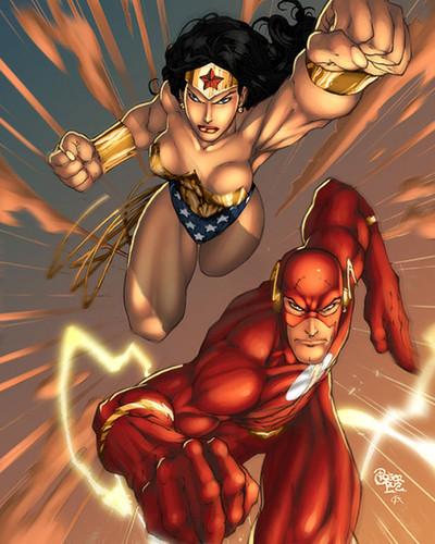 वंडर वुमन वॉलपेपर containing ऐनीमे titled Wonder Woman and Flash