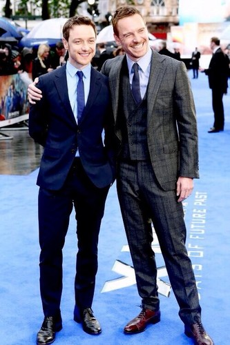 James McAvoy and Michael Fassbender wallpaper containing a business suit, a suit, and a well dressed person called X-Men: Days of Future Past - London Premiere
