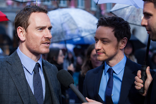 James McAvoy and Michael Fassbender wallpaper containing a business suit titled X-Men: Days of Future Past - London Premiere