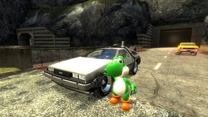 Yoshi with his DeLorean