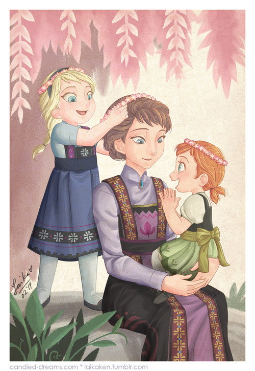 Young Elsa and Anna with their mother