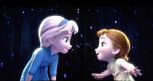 Young Elsa with young Anna