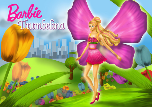 Sinema za Barbie karatasi la kupamba ukuta with a bouquet, a hippeastrum, and a camellia called barbie thumbelina