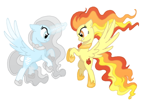 My Little Pony Friendship is Magic wallpaper possibly containing a rose and a bouquet entitled fire vr. snow