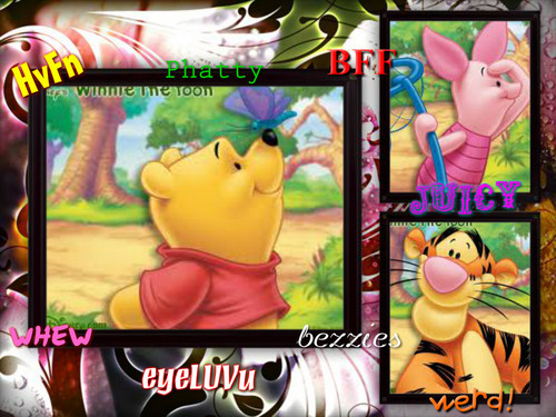 Winnie the Pooh wolpeyper with a stained glass window and anime called hvfn winnie the pooh
