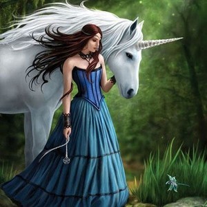 A girl with unicorn
