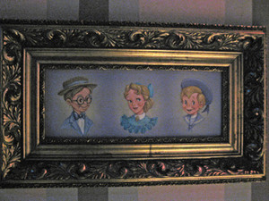 A portrait of the Darling's from inside the Peter Pans Flight ride
