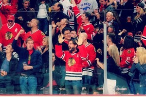 AJ Lee and CM Punk at a Hockey Game